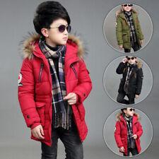 Boys Kids Warm Outwear Jackets Thicken Padded Fur-lining Snow Winter Parka Coats