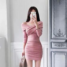 Elegante vestito abito tubino rosa cipria  maniche aderente slim  4748