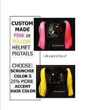Custom Made Pink or Yellow Helmet Pigtails ~Motorcycle Skate Bike ~25% More Hair