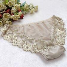 1 PC 100% Pure Silk Women's Sexy Lace Underwear Lingerie Panties M L XL SMS