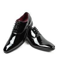 NEW Men Dress Tuxedo Shoes Black Round Toe Patent Shiny Lace Up Alberto Fellini