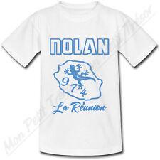 T-shirt Enfant Ile de la Réunion Bleu avec Prénom Personnalisé