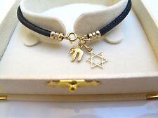kabbalah bracelet star david solid gold black leather string men women bangle