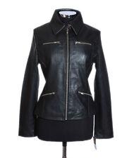 JANICE Black Ladies Classic Style Fashion Retro Real Soft Sheep Leather Jacket