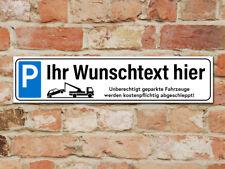 Schild oder Aufkleber - PARKPLATZSCHILD PARKVERBOT 49 x 11 cm mit Wunschtext