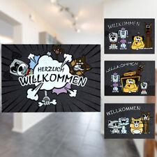 Türmatte Fußmatte Katze Hunde Haustier Willkommen Schmutzmatte Comic 50x70cm
