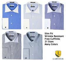 Men's Dress Shirt Slim Fit Long Sleeve Spread Collar French Cuffs from Labiyeur