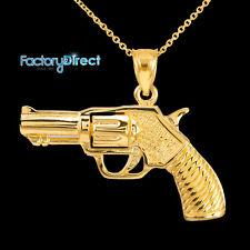 Gold Revolver Gun Pendant Necklace Western Pistol Handgun ammunition firearm