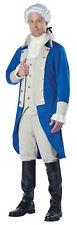 Men's Deluxe George Washington Costume President Colonial Man Blue Beige Adult
