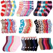 6 Pair Cozy Fuzzy Super Soft Winter Slippery Stripe Solid Pattern Socks 9-11 Lot