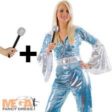 70s Waterloo Blue + Microphone Ladies Fancy Dress 1970s Dancing Queen Costume
