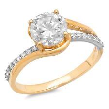 1.93 ct Round Cut Moissanite Promise Bridal Wedding Ring 14k 2 tone Yellow Gold