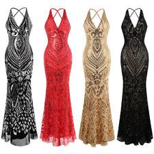Angel-fashions Damen Halfter Muster Paillette V-Ausschnitt Mantel Abendkleid 381