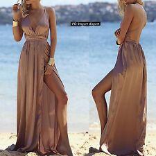 Vestito Donna Abito Lungo Effetto Raso - Woman Satin Maxi Dress 110292