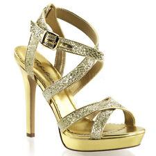 Sandali Gioiello Glitter Oro Donna Tacco Alto 12 Plateau Pleaser LUMINA-21