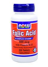 NOW Foods Folic Acid 800mcg + B-12 25mcg Vegetarian 250 Tabs, FAST SHIPPING