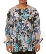 MARINA RINALDI Women's Blue Multi Batteria Lace Detail Blouse $850 NWT