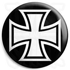 Square Iron Cross - Button Badge - 25mm Biker Badges with Fridge Magnet Option