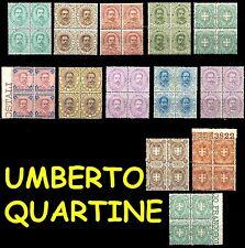 REGNO Umberto Primo I° Quartine Umbertini Integri LUSSO MNH ** Freschissime!!!!!