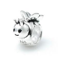 Sterling Silver Cute Queen Honey Bee w/ Crown Bead For European Charm Bracelets