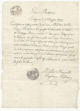 G95-STATO PONTIFICIO-BOLOGNA MILITARE-CERTIFICATO BEVAGNA 1835