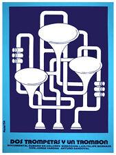 Dos trompetas y un trombon Decoration Poster.Graphic Art Interior design. 3406
