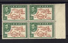 Fiji 1938 2D Marrone e Verde morire Io nel blocco di quattro SG 253 MNH.