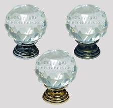 Clear Crystal Diamond Cut Glass Cabinet Cupboard Door Knobs 30mm