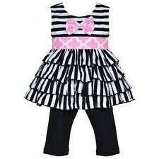AnnLoren Girls Pink Black White Stripe Tunic Legging Capri Set  2/3T, 4/5T