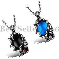 "Stainless Steel Scorpio Scorpion w Oval Shape Stone Men's Pendant Necklace 22"""