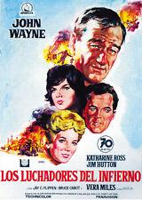 Hellfighters (1968) John Wayne Katharyne Ross Movie poster print 24x33 inches