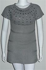Beautiful! Rhinestone Knit Stripe Tunic Sweater Dress - Grey - Plus 14W 16W 18W