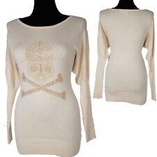 CASHMERE & LANA TESCHIO STRASS pullover vestito di maglia Stivali XS S M L
