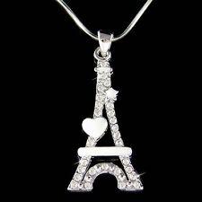 w Swarovski Crystal Eiffel Tower Paris France enamel Heart Star Pendant Necklace