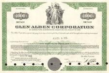Glen Alden Corporation > $1,000 bond certificate coal stock share scripophily