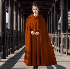 Ladies Women Long Cape Cloak Hooded Wool Blend Coat Sleeveless Retro Solid Tops