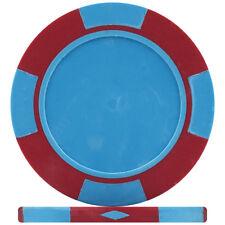 LIGHT BLUE & RED - Blank 4 TAB Custom Poker Chips, 25mm Label Recess - 11.5g ABS