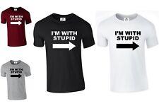 I'M WITH STUPID T shirt Printed Funny Joke Slogan Rude Present (STUPID,TSHIRT)