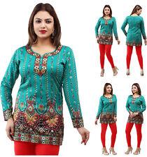 Reino Unido stock-Mujeres Moda Camisa Top Corto india Kurti Kurta Vestido 28 C