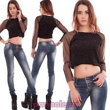 Maglia donna corta maglietta pull top brillantini maniche velate nuova CR-2422