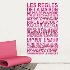 """Sticker Décoration Texte """"LES REGLES DE LA MAISON"""", (50x30cm à 100x60cm)"""