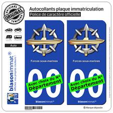 2 Stickers autocollant plaque immatriculation Auto : Forces sous-marines