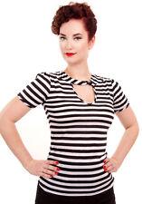STRIPY TOP - black white sailor plus size - Retro vintage style 1950s rockabilly