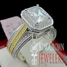 REAL 925 SILVER LADIES DESIGNER 2 TONE LAB DIAMOND WEDDING ENGAGEMENT RING BAND