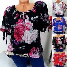 Women Oversize Floral Short Sleeve Lace Up Off Shoulder T-Shirt Top Blouse CA