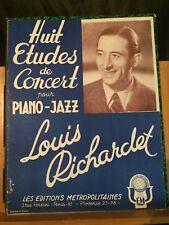 Louis Richardet 8 études concert piano jazz partition éditions métropolitaines