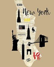 Amanda Murray: City Graphic Map New York Keilrahmen-Bild Leinwand Monumente