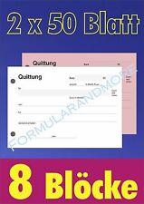 8x QUITTUNGSBLOCK durchschreibend, 2 x 50 BLATT,QUITTUNGEN, Quittungsblöcke,NEU