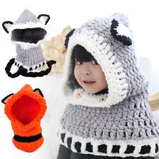 Baby Kids Child Winter Cute Knitted Fox Ear Hat Cap Hooded Scarf Earflap Beanies