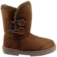 Ella Rita Brown Ladies Vegan Boots 2 Button Ankle Fax Fur Boot